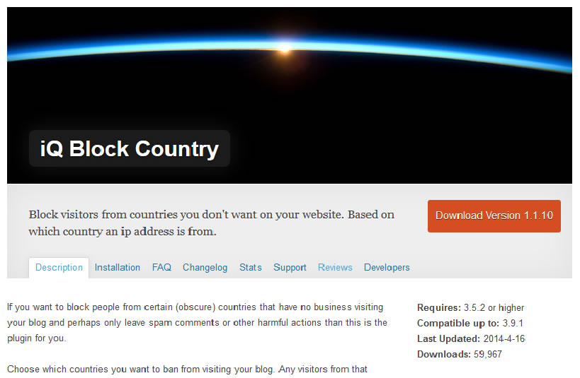 Plugin WordPress Iq Block Country de blocage des visites provenant de certains pays.